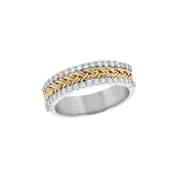 Two Tone Braided Diamond Ring, 14 Karat Gold