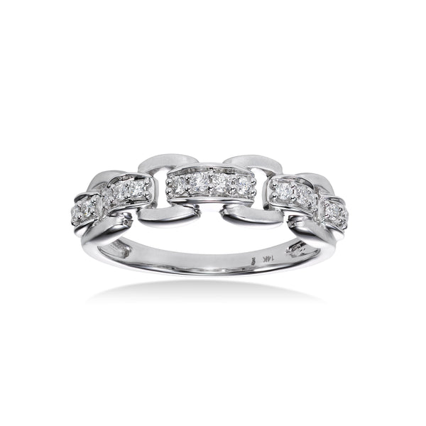 Open Link Diamond Ring, 14K White Gold