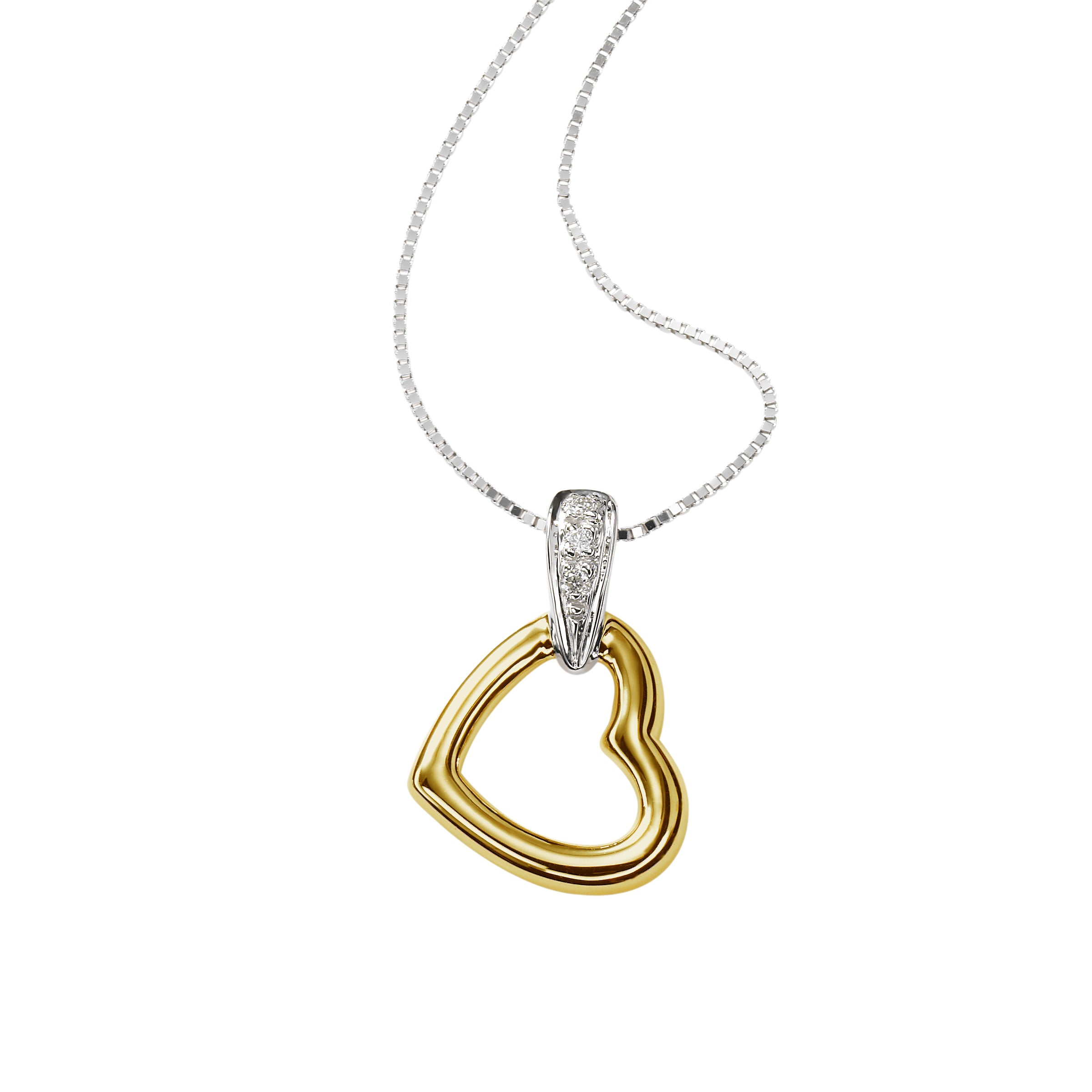 Children's Open Heart Pendant, 14k Yellow and White Gold