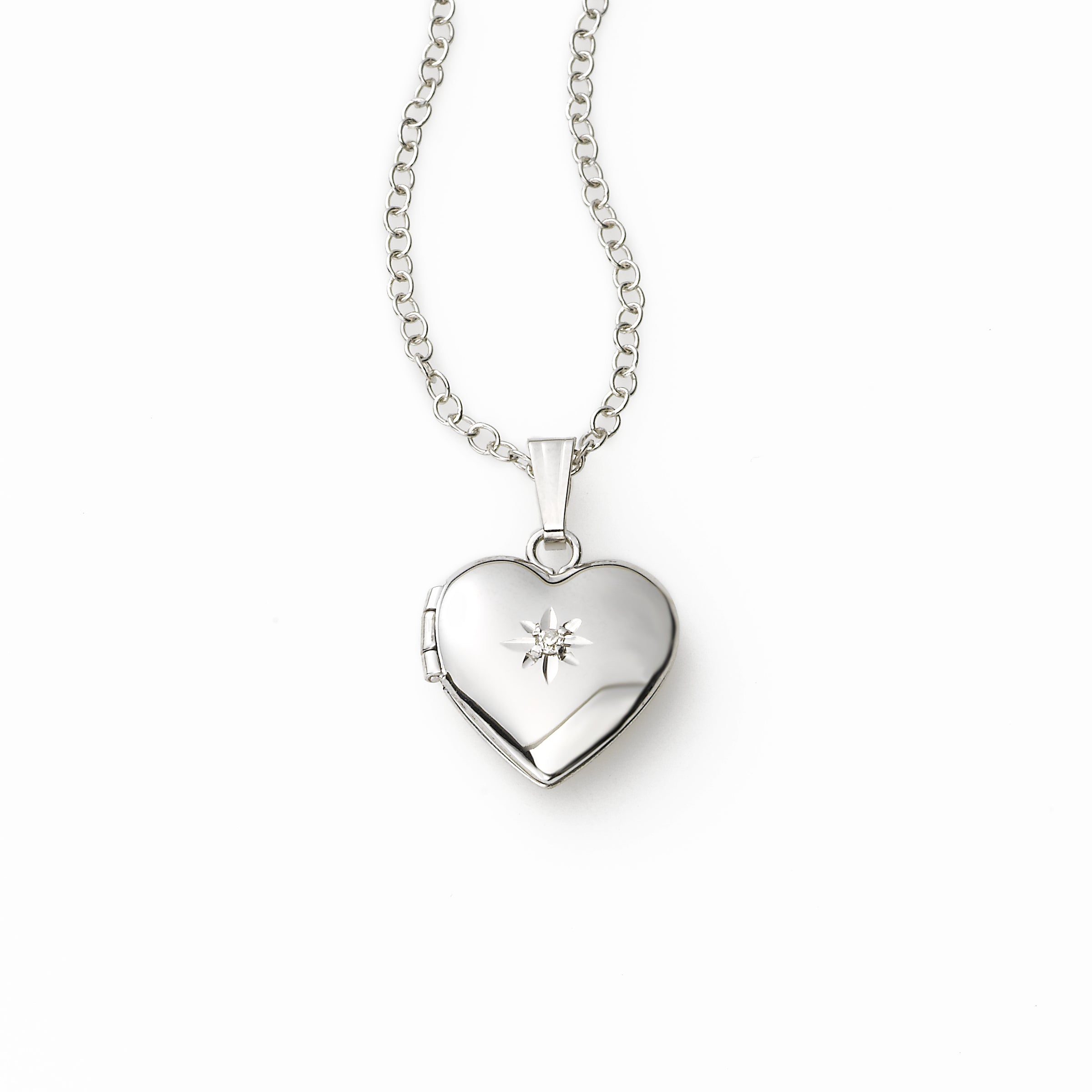 Girls Heart Locket with Diamond Accent, Sterling Silver