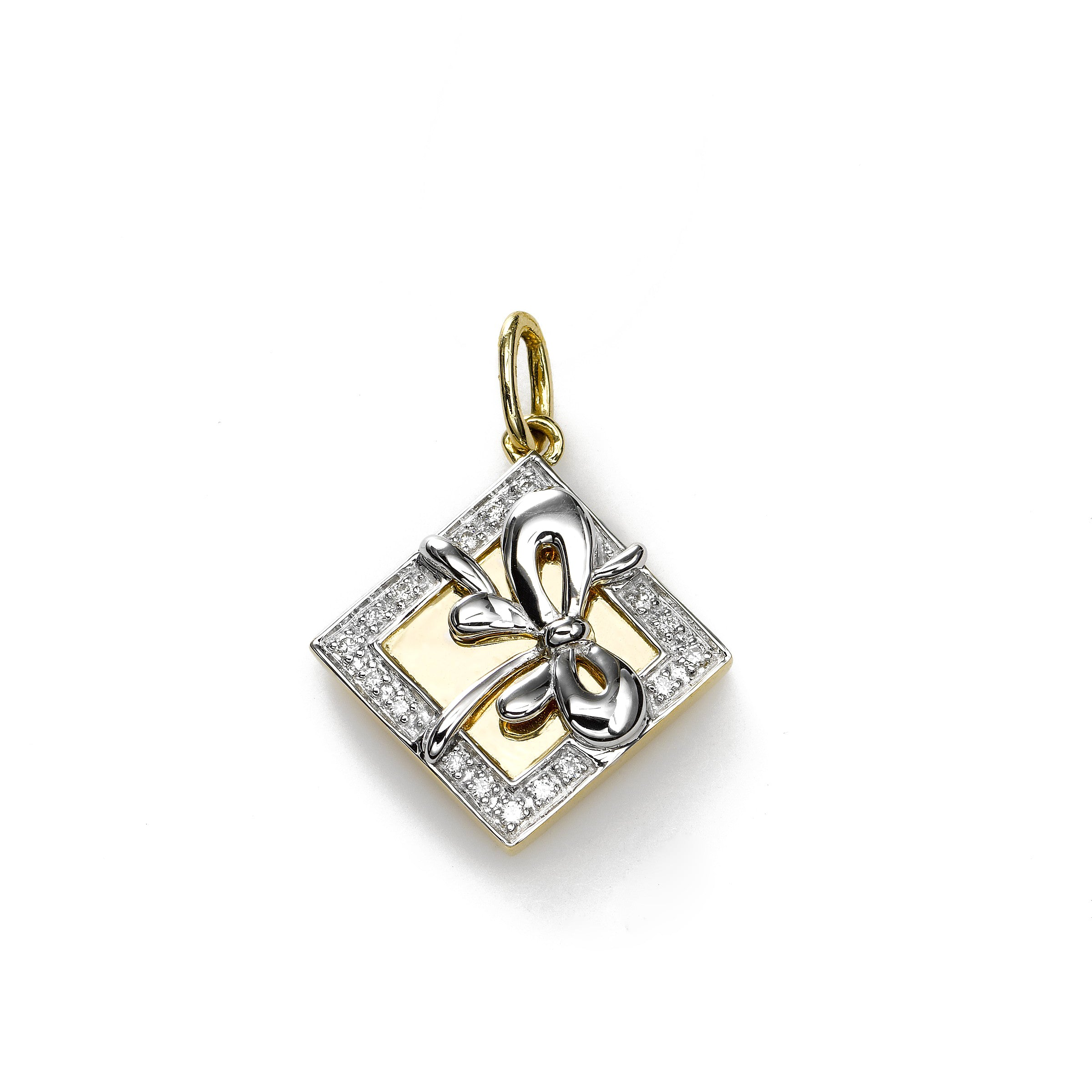 Gift Box Charm with Diamond Accent, 14K