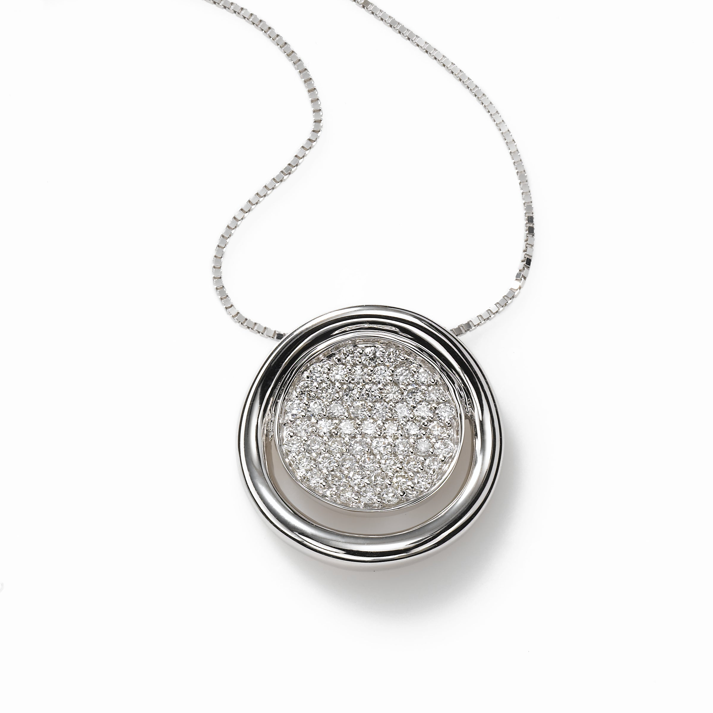 Round Diamond Pendant, 14K White Gold
