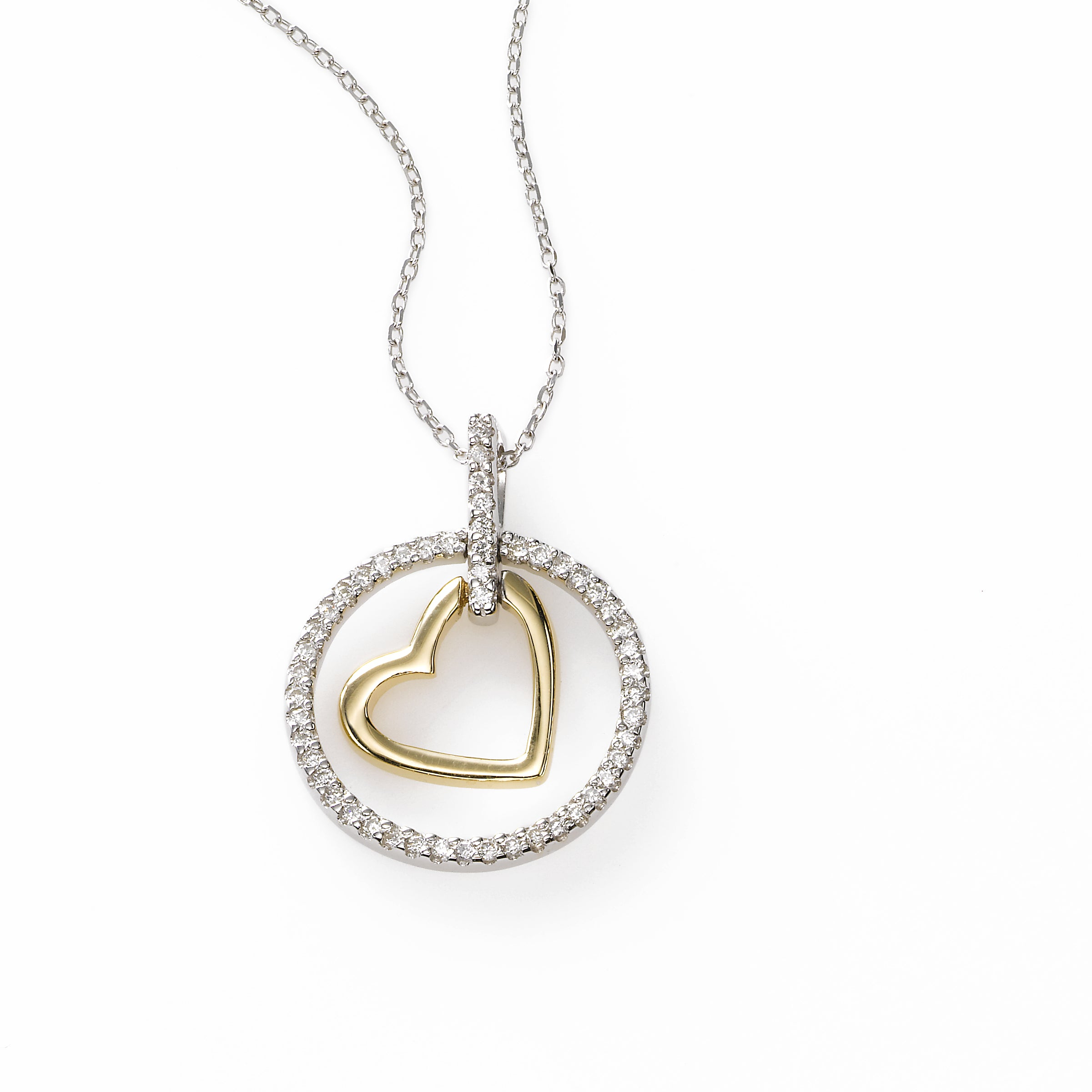 Heart in Diamond Circle Pendant, 14K Gold