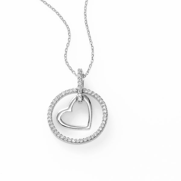 Heart in Diamond Circle Pendant, 14K White Gold