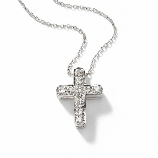Small Diamond Cross, .50 inch long pendant, 14K WG