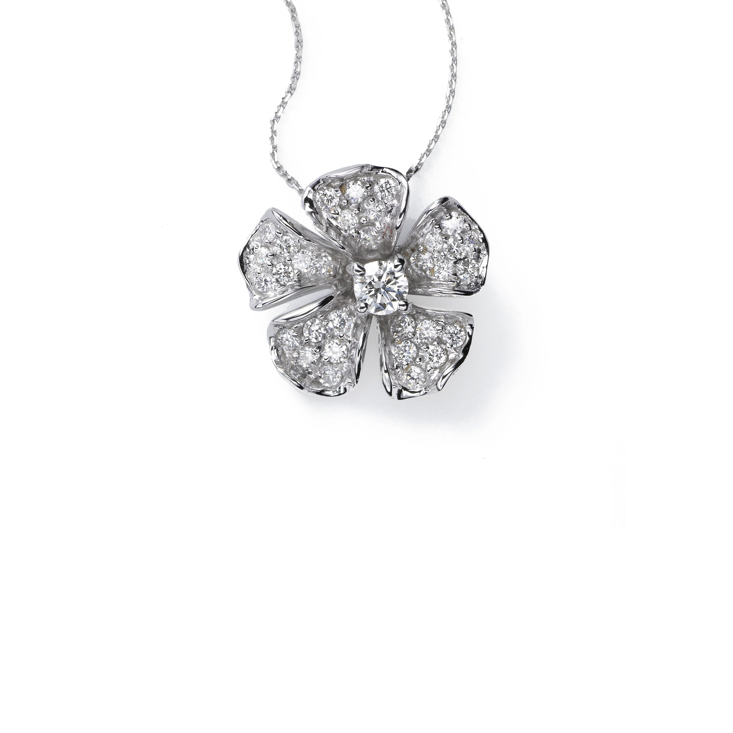 Magnolia Collection Pave Set Diamond Pendant, 18K White Gold