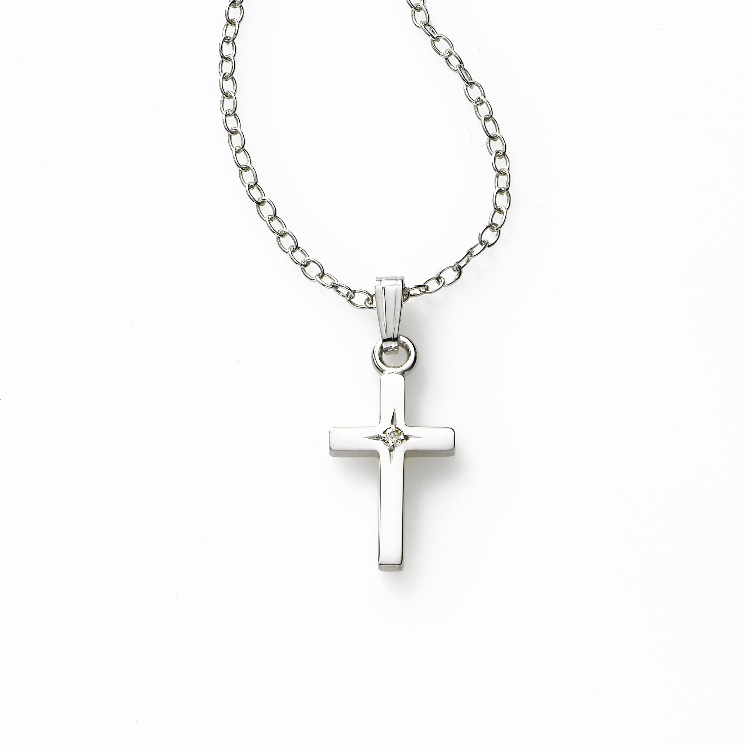 Baby's Cross with a Diamond, Sterling Silver