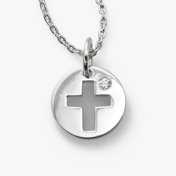 Cross Pendant With Diamond, Sterling Silver