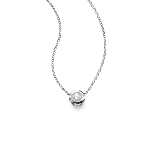 Single Diamond Pendant, Bezel Set, 14 Karat White Gold
