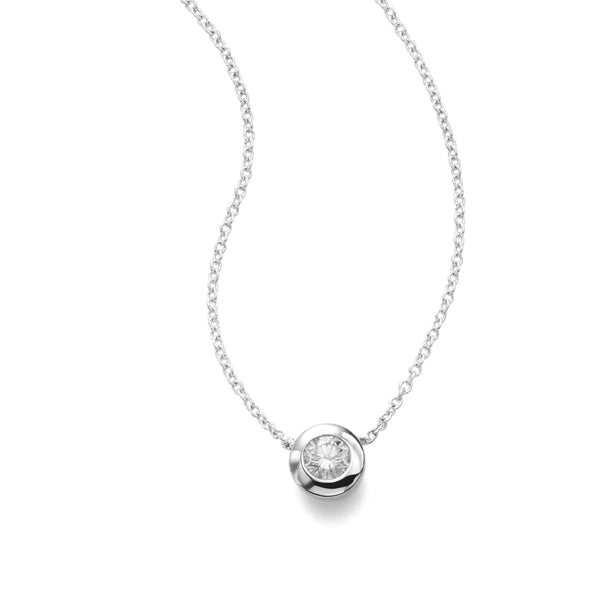 Single Diamond Pendant, Bezel Set, 14K White Gold