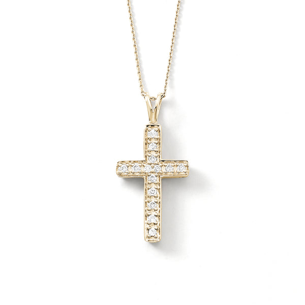 Simple Diamond Cross Pendant, 14K Yellow Gold