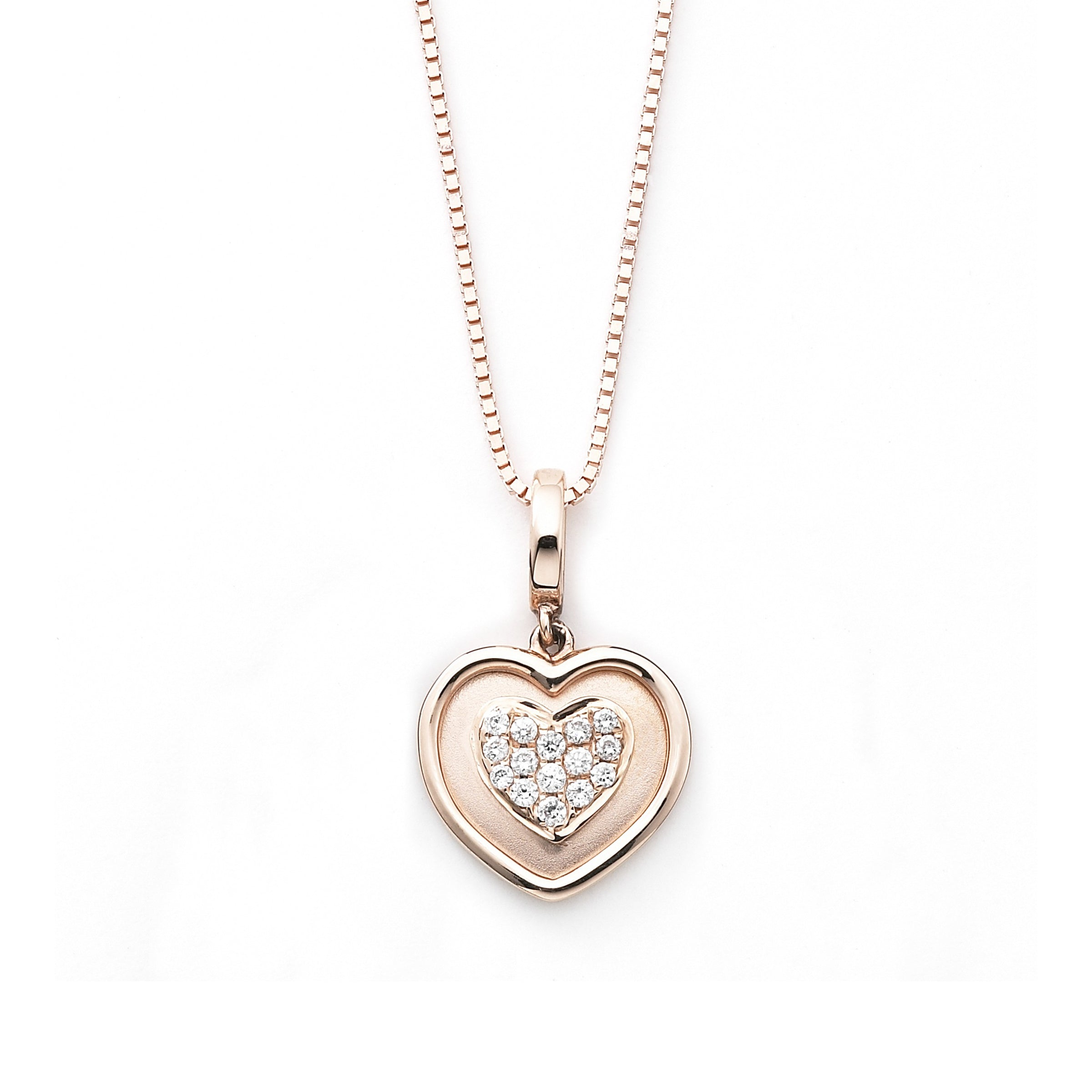 Delicate Rose Gold Heart Pave with Diamonds, 14K, 16 Inch Chain