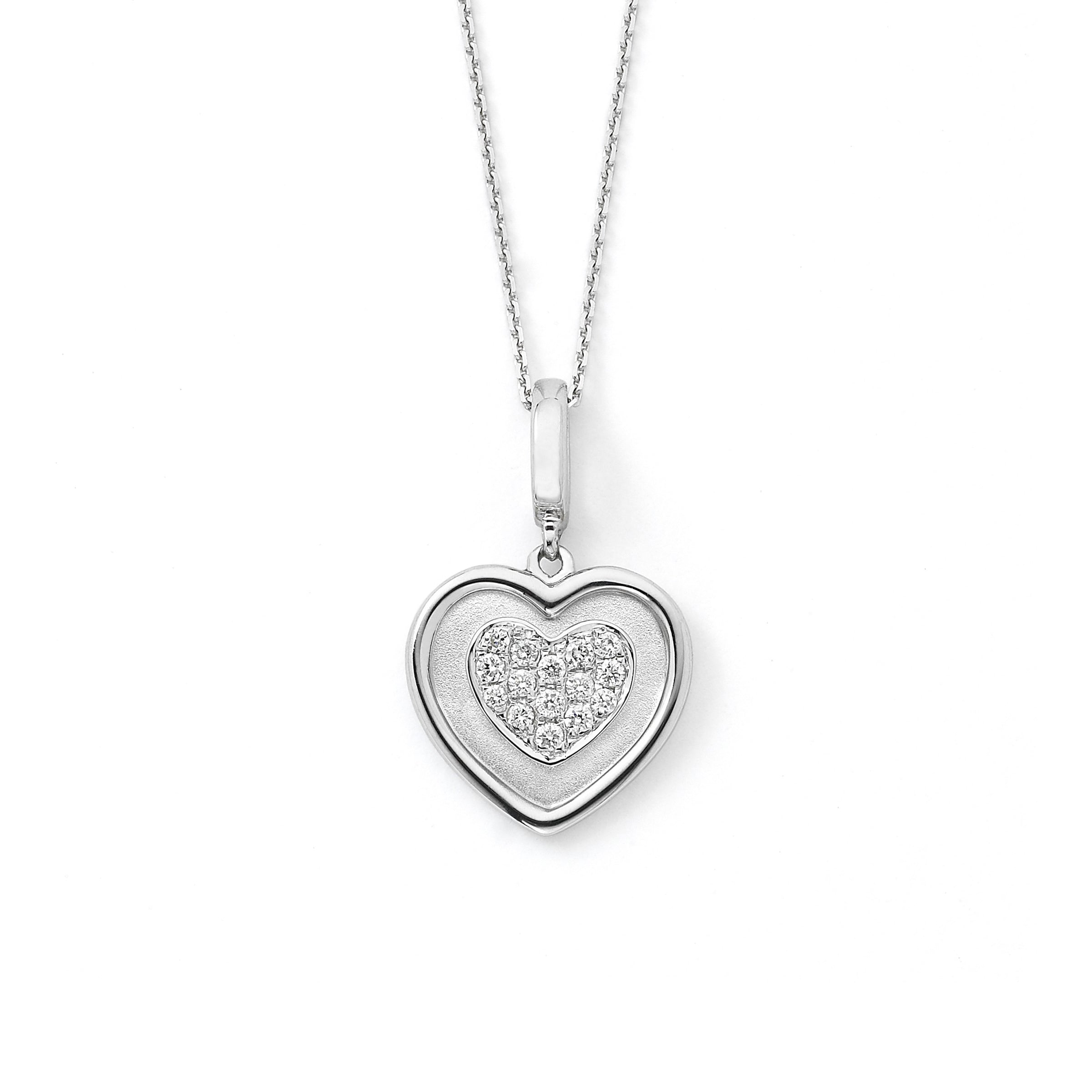 Diamond Heart Pendant, Matte and High Polish, 14K White Gold, 16 Inch Chain