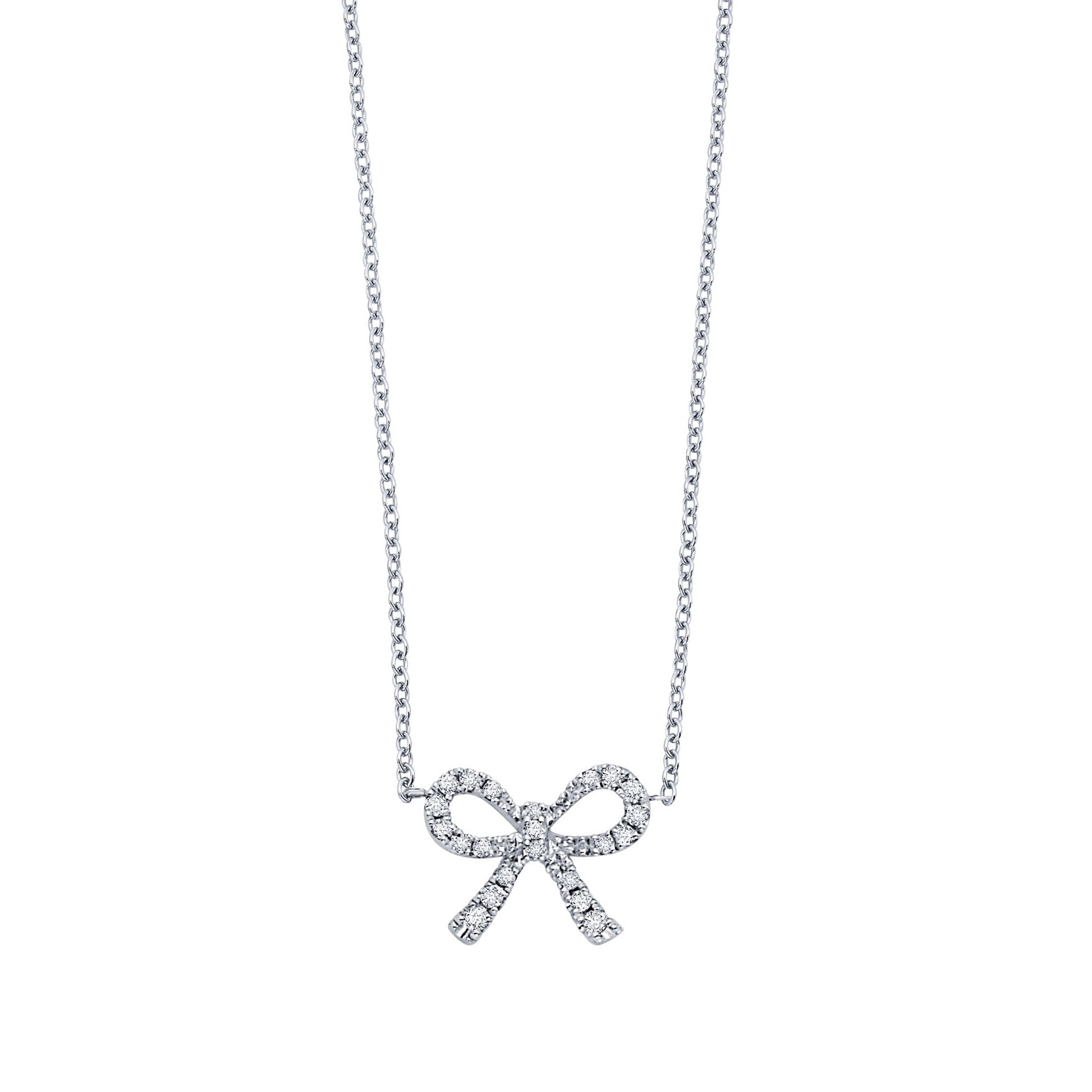 Diamond Bow Necklace, .10 Carat, 14K White Gold, 16 Inches