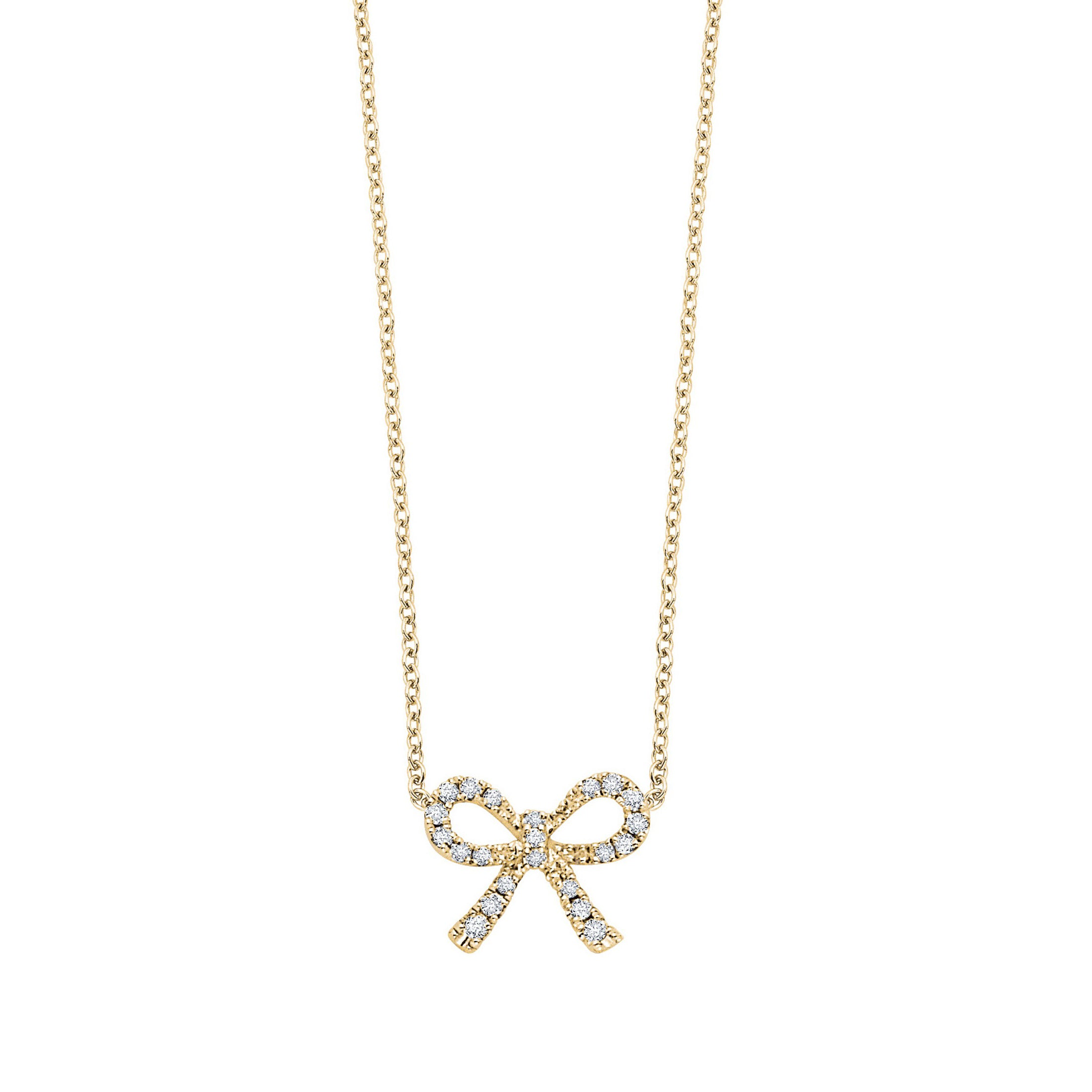 Diamond Bow Necklace, .10 Carat, 14K Yellow Gold, 16 Inches