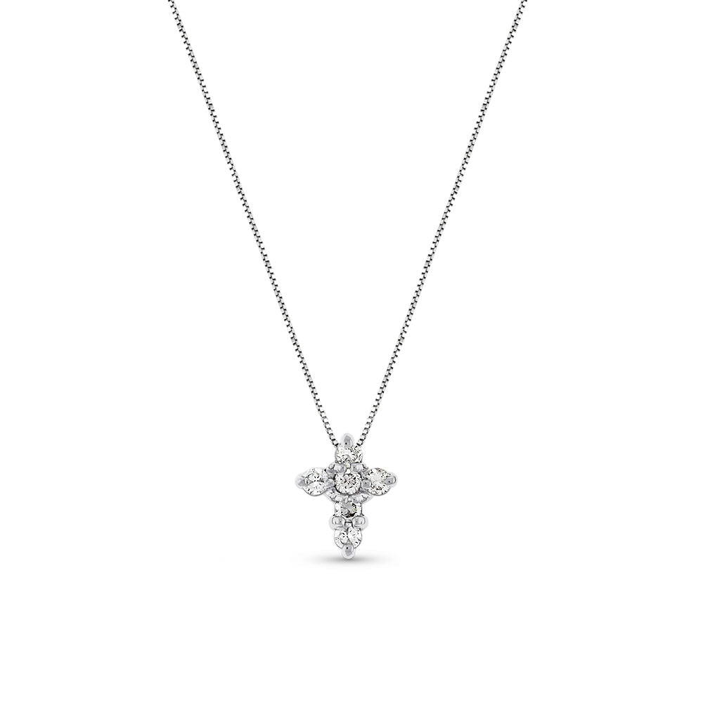 Petite Diamond Cross Diamonds Total .15 Ct 14K White Gold
