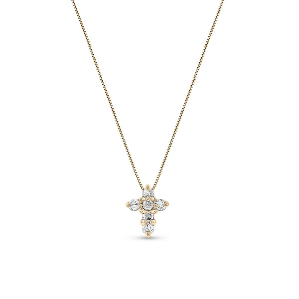 Petite Diamond Cross Diamonds Total .15 Ct 14K Yellow Gold