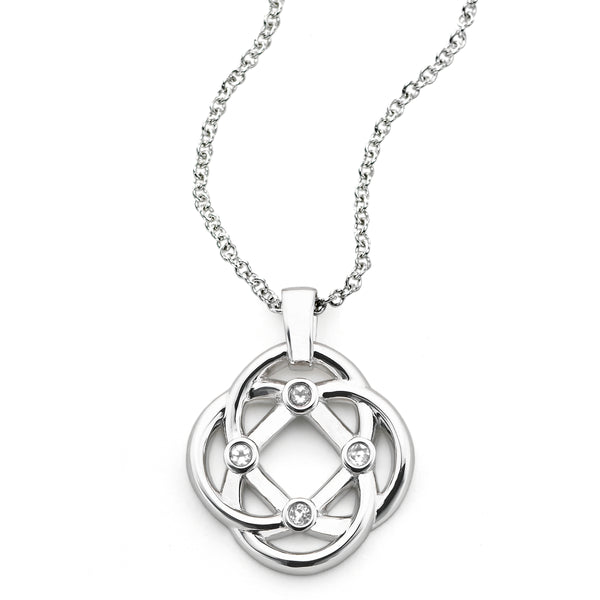 Four Corner Knot Pendant, 14K White Gold and Diamond