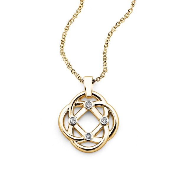 Four Corners Knot Pendant, 14K Yellow Gold and Diamond