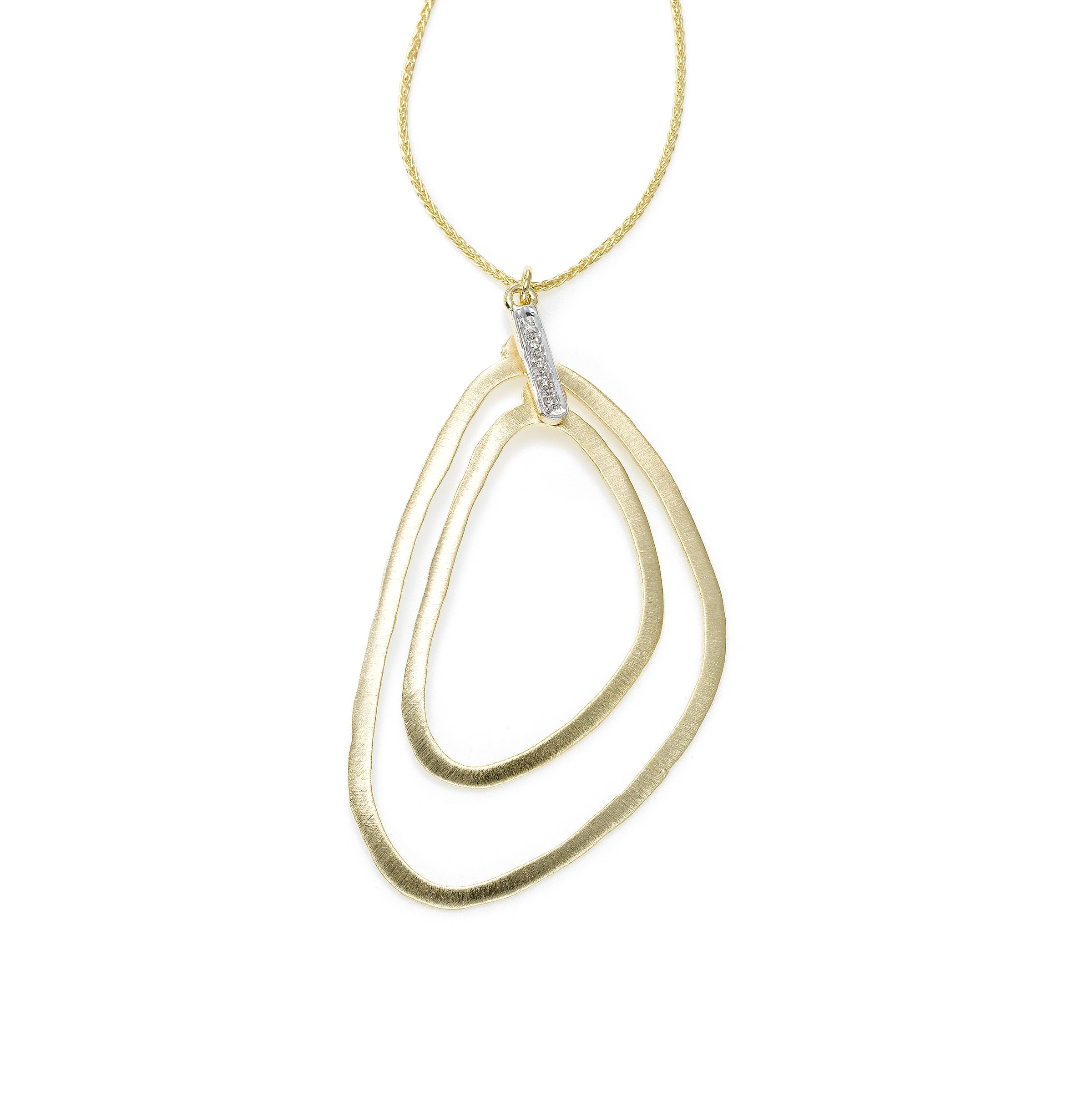 Double Abstract Pendant With Diamonds, 14K Yellow Gold
