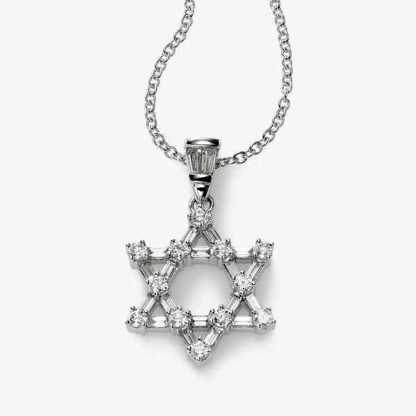 Baguette and Round Diamond Jewish Star, 18K White Gold