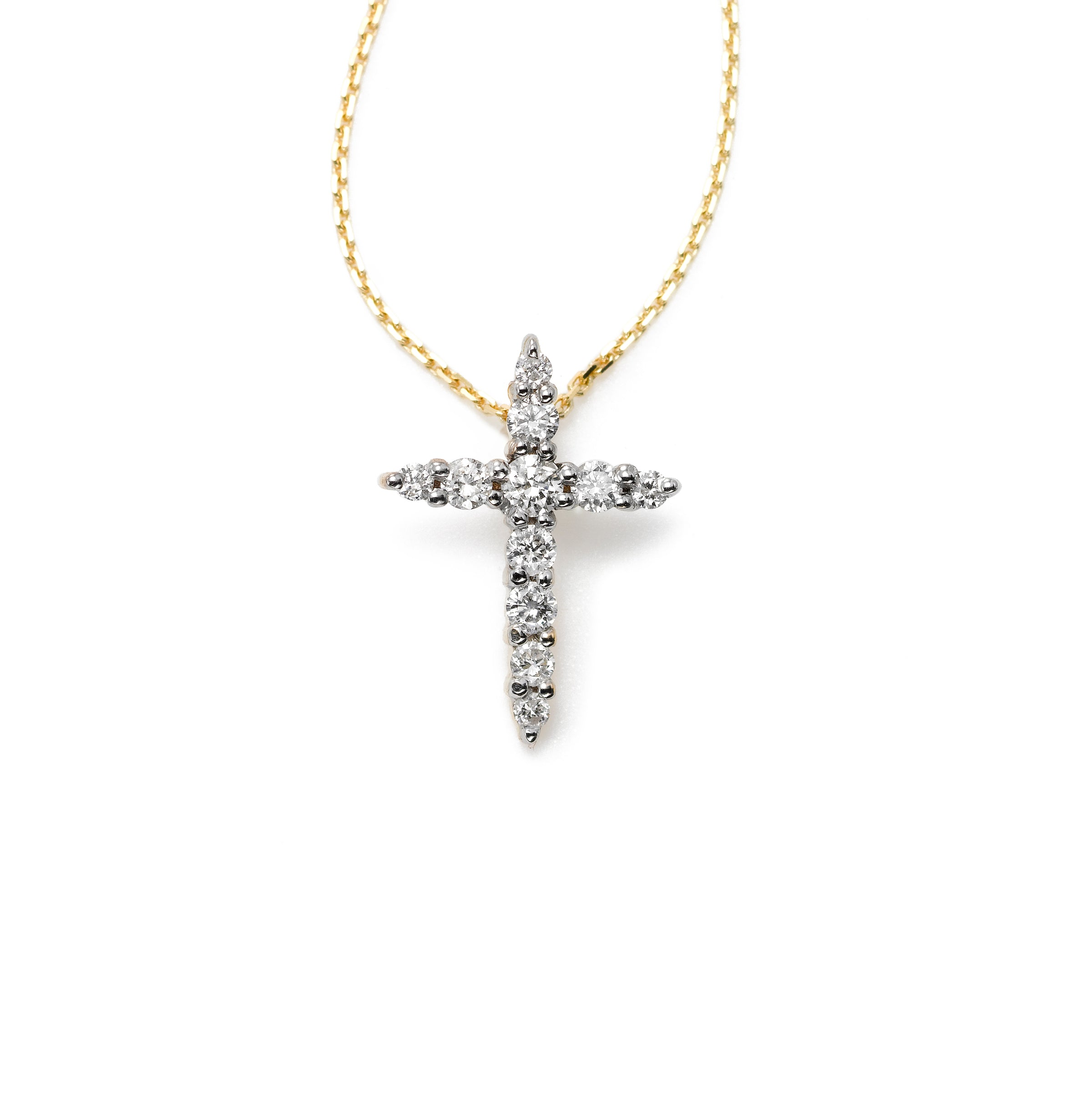 Tiny Diamond Cross, 14K Yellow Gold