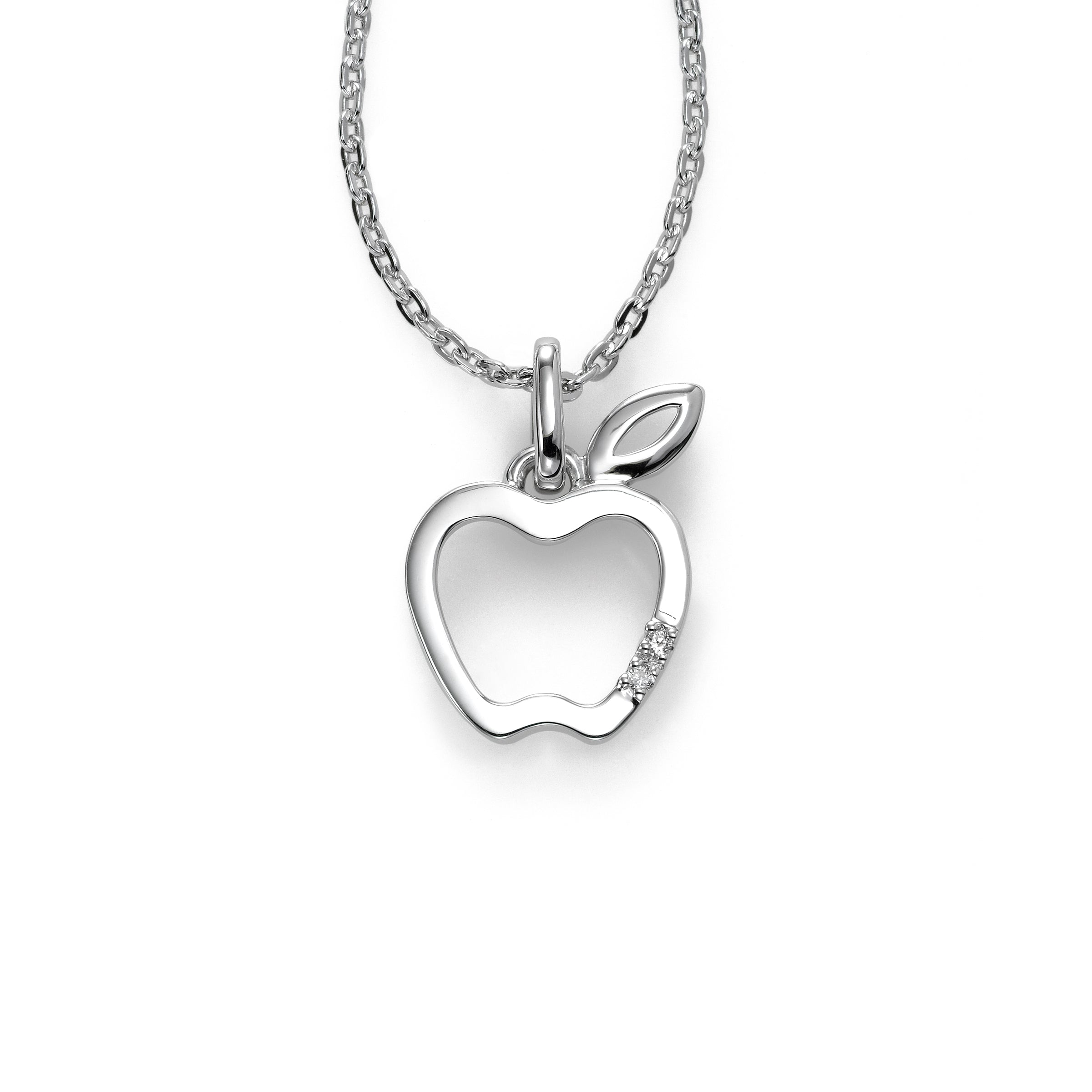 Apple Charm with Diamond Accent, Sterling Silver