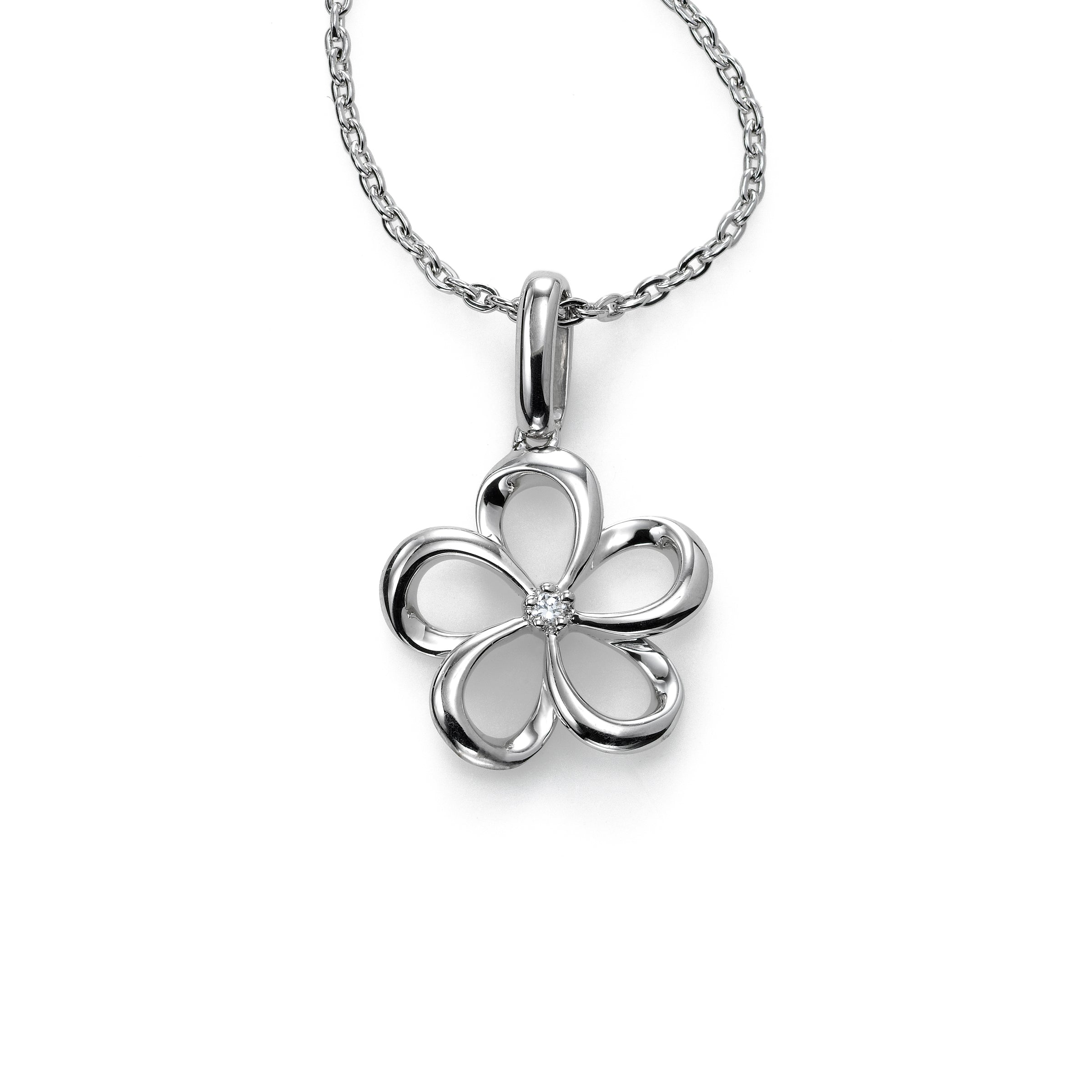 Flower Pendant with Diamond Accent, Sterling Silver