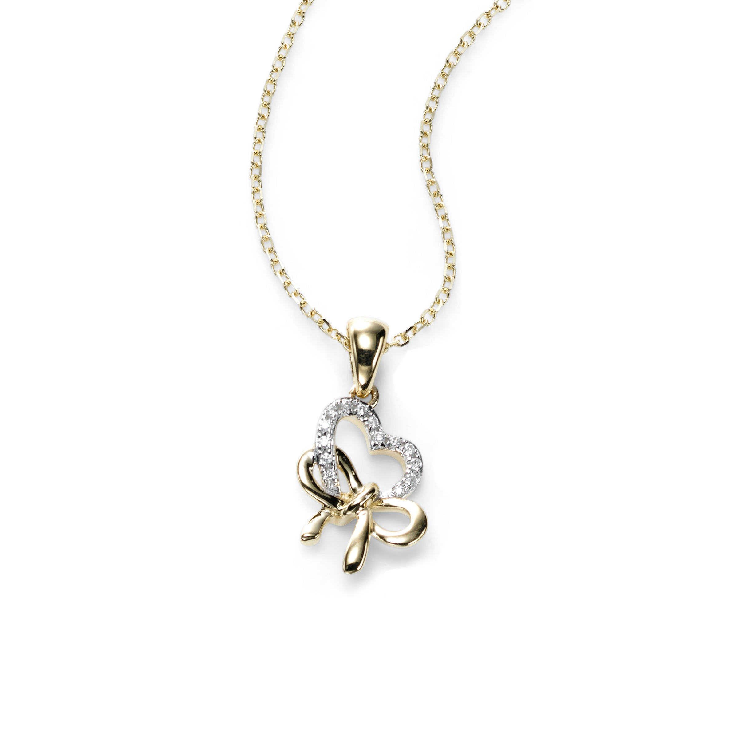 Petite Heart Bow Pendant With Diamonds, 14K Yellow Gold