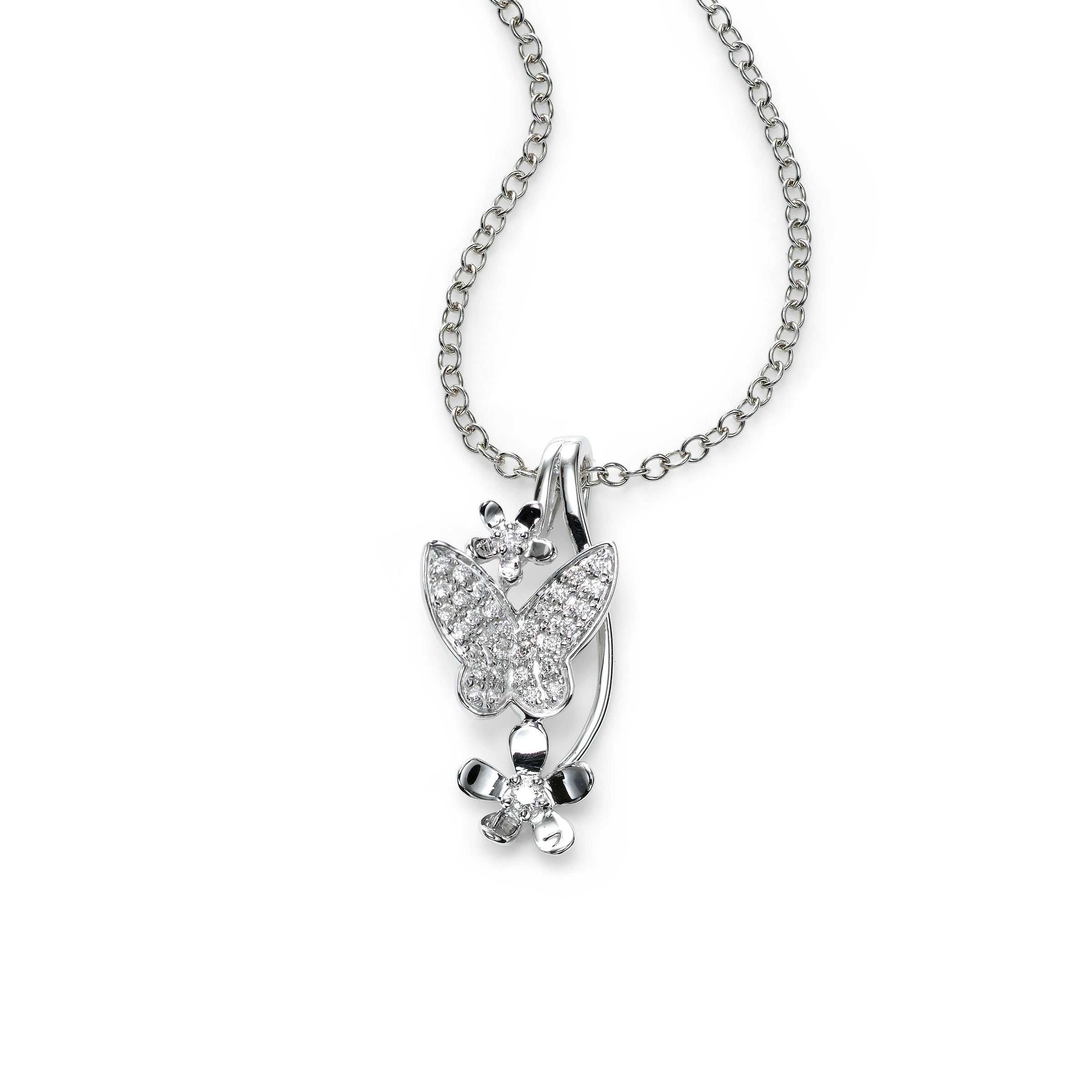 Diamond Butterfly and Flower Pendant, 14K White Gold