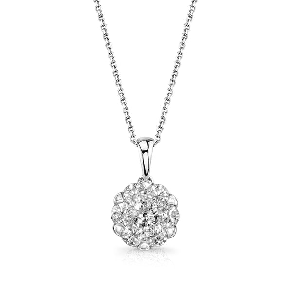 Scalloped Diamond Cluster Pendant, 14K White Gold