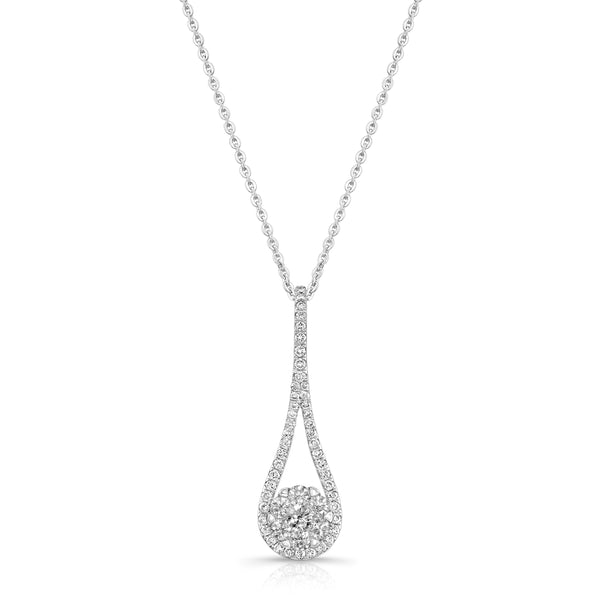 Elongated Drop and Diamond Cluster Pendant, 14K White Gold