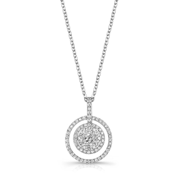 Disc in Circle Diamond Pendant, 14K White Gold