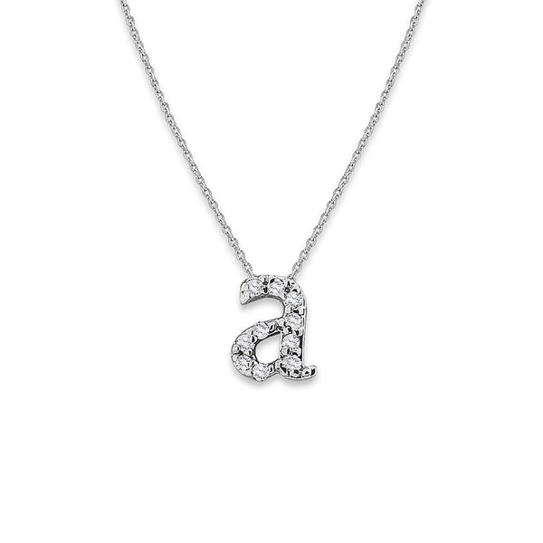 Diamond Initial Necklace, 14K White Gold