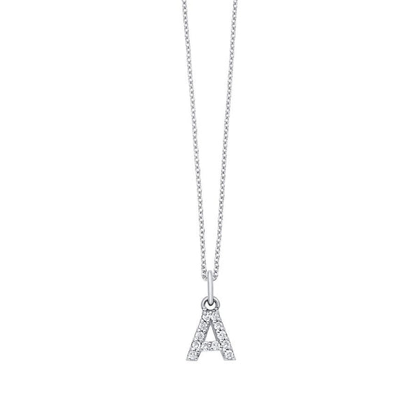Capital Letter Diamond Initial Pendant, 14K White Gold