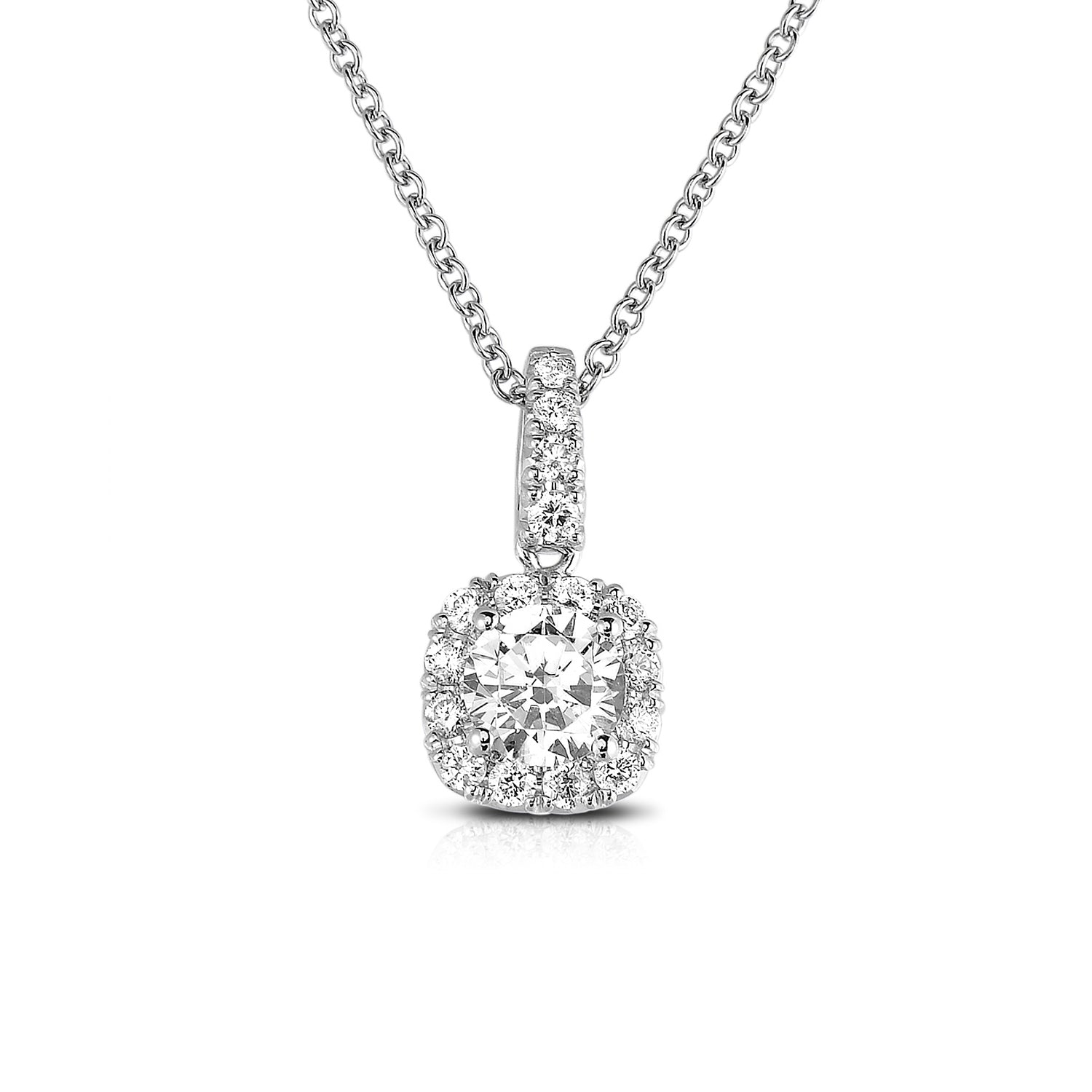 Square Diamond Halo Pendant, 14K White Gold