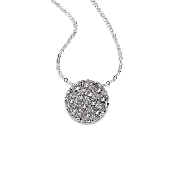 Basket Weave Diamond Disk Pendant, 14K White Gold