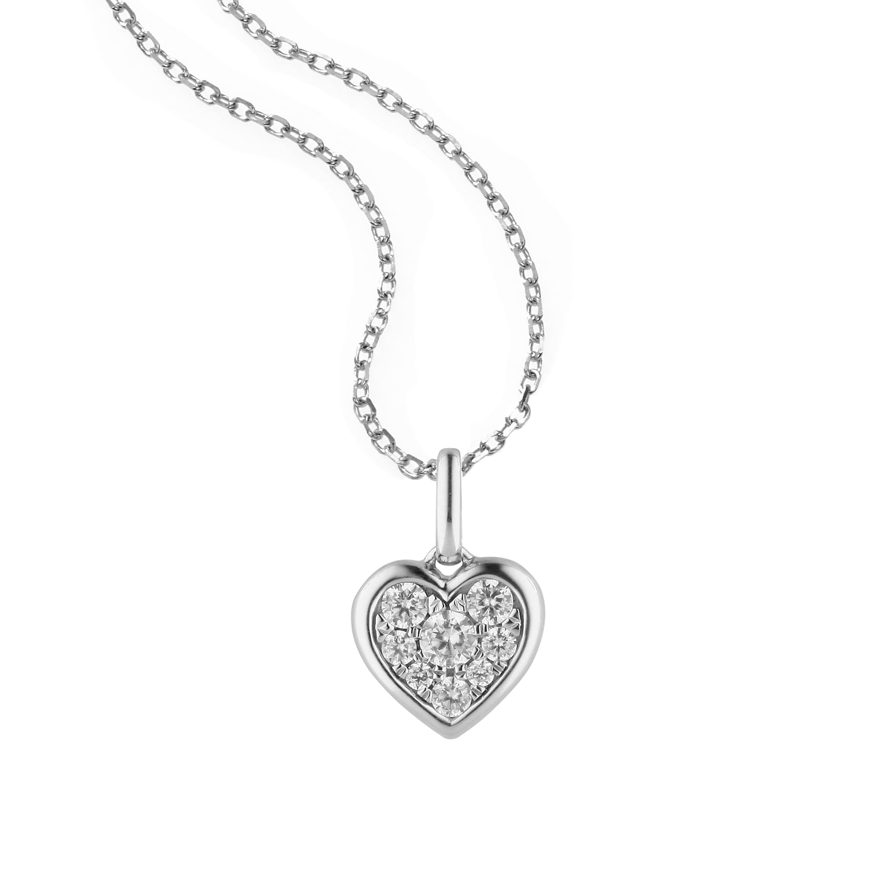 Framed Pavé Diamond Heart Pendant, 14K White Gold