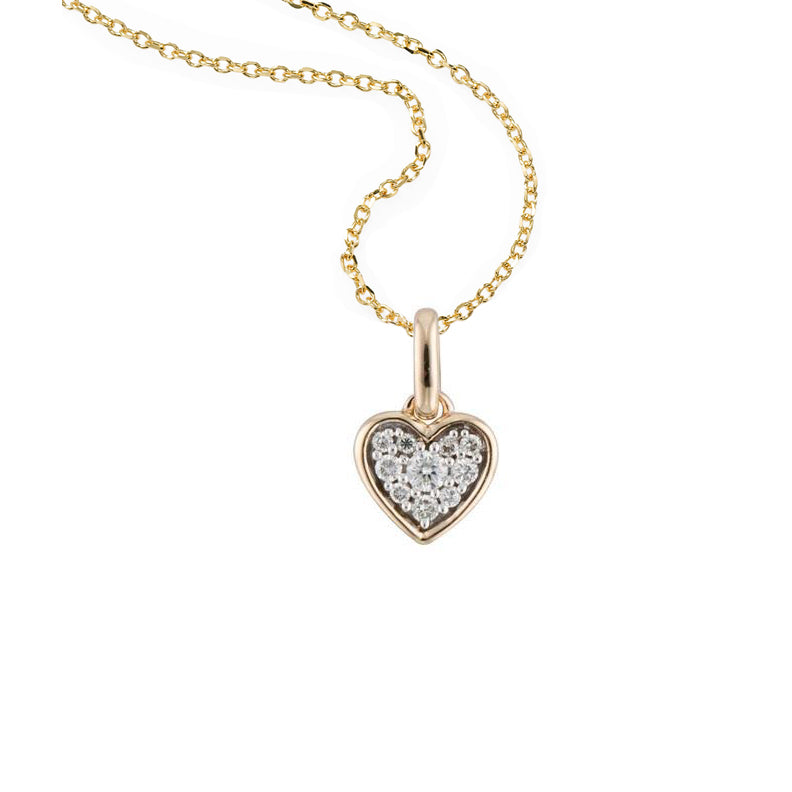 Petite Pavé Diamond Heart Pendant, 14K White Gold