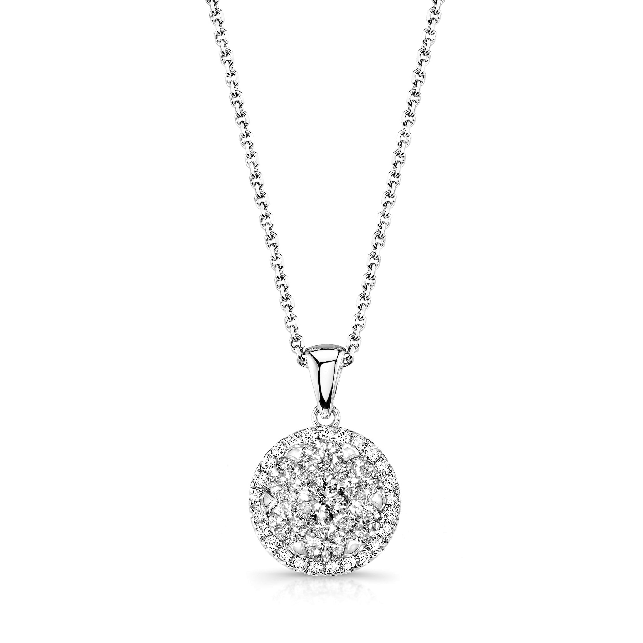 Classic Diamond Halo Pendant, 14K White Gold