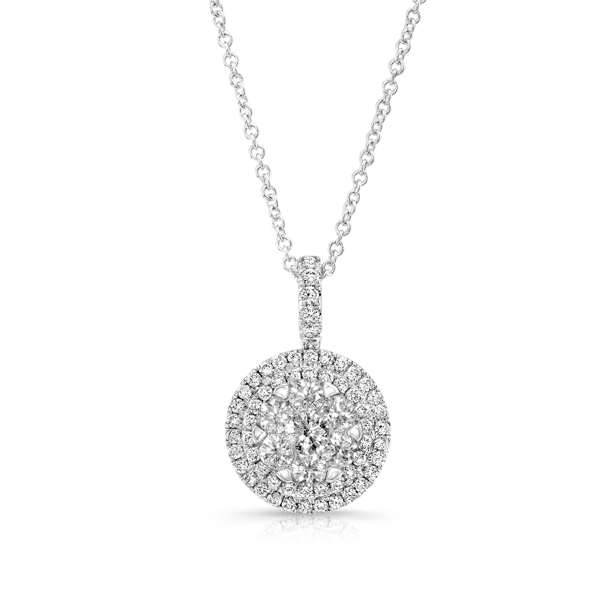 Diamond Double Entourage Pendant, 14K White Gold