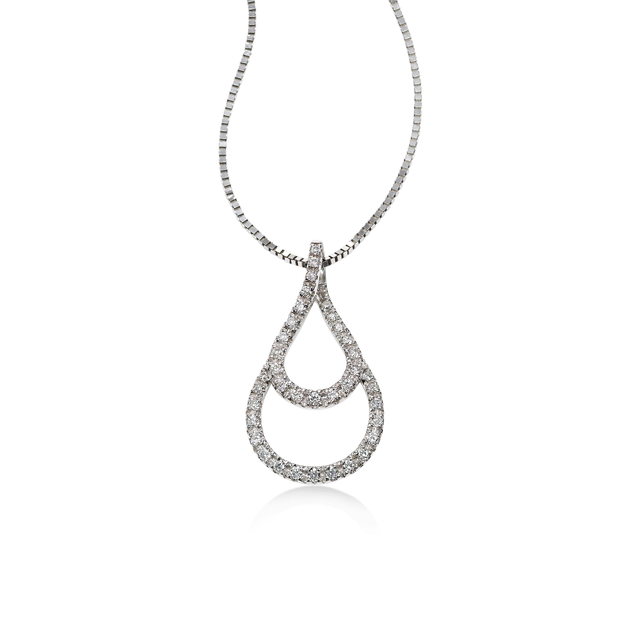 Nested Diamond Drop Pendant, 14K White Gold