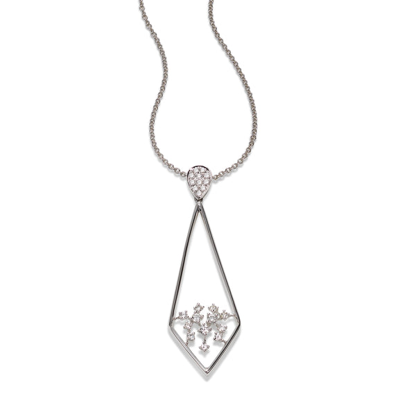 Reverse Kite Shaped Diamond Pendant, 14K White Gold
