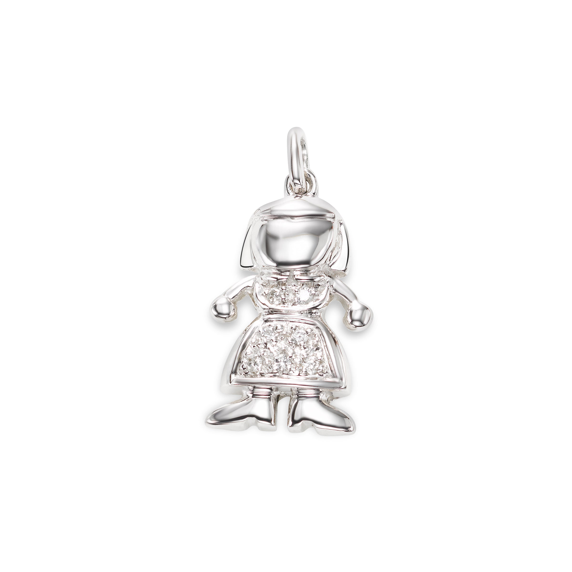 Diamond Girl Charm, 14K White Gold