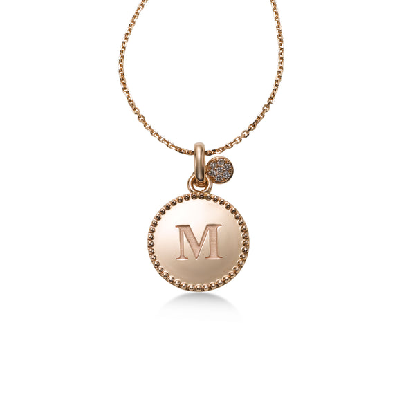 Initial Pendant with Diamond Accent, 14K Rose Gold