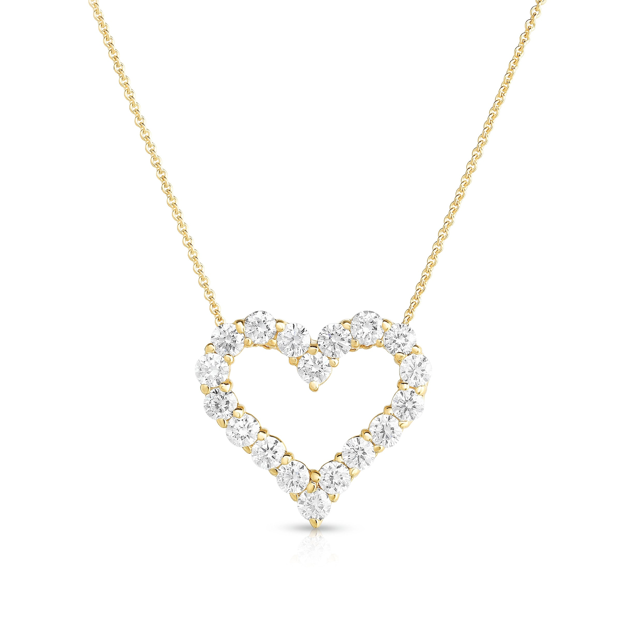 Open Diamond Heart Necklace, 1 Carat, 14K Yellow Gold