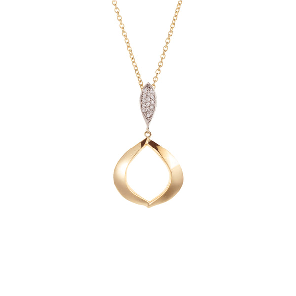 Soleil East Pendant with Pavé Diamonds, 18K Yellow Gold
