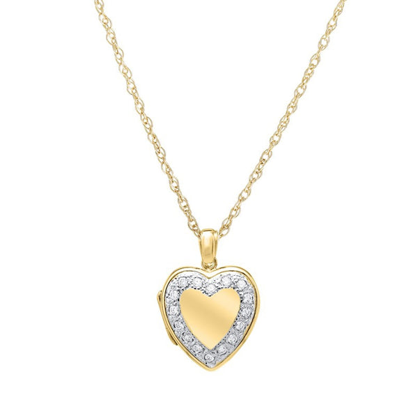 Diamond Framed Heart Locket, 14K Yellow Gold