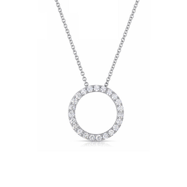 Open Circle Diamond Necklace, 14K White Gold