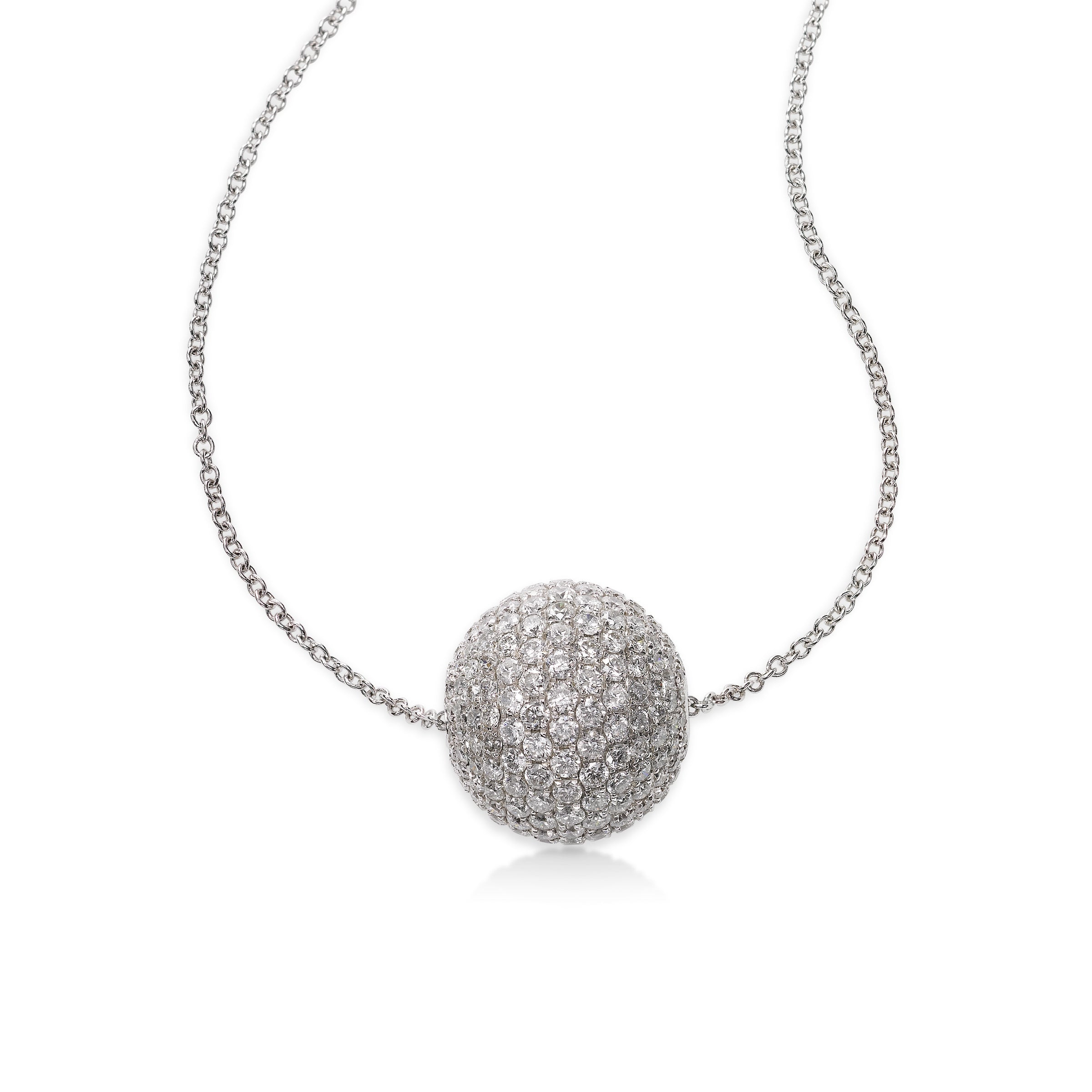 Pavé Diamond Ball Necklace, 18K White Gold
